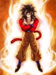 1boy aura black_footwear black_hair closed_mouth crossed_arms dragon_ball dragon_ball_gt full_body fur highres looking_at_viewer male_focus mattari_illust monkey_tail muscle pants red_fur smile solo spiky_hair super_saiyan super_saiyan_4 tail yellow_eyes