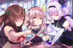 >_< .live 3girls animal_ears blurry blurry_background brown_hair carro_pino closed_eyes commentary_request feeding food_in_mouth force_feeding kakyouin_chieri lavender_hair long_hair mokota_mememe multiple_girls one_eye_closed open_mouth pink_hair school_uniform shaded_face sheep_ears spoon table thick_eyebrows tooi_aoiro virtual_youtuber