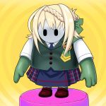 1other blonde_hair blue_neckwear blue_skirt braid braided_bangs brown_footwear commentary_request dress_shirt fall_guy fall_guys green_legwear green_vest highres kantai_collection loafers necktie parody perth_(kantai_collection) plaid plaid_skirt pleated_skirt school_uniform shirt shoes short_hair short_sleeves skirt solo thigh-highs tk8d32 vest white_shirt