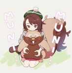 1girl bangs blush bob_cut boots brown_eyes brown_footwear brown_hair cardigan closed_mouth commentary_request dress eyebrows_visible_through_hair gen_8_pokemon gloria_(pokemon) greedent green_headwear green_legwear grey_cardigan hat hooded_cardigan kurochiroko pink_dress plaid plaid_legwear pokemon pokemon_(creature) pokemon_(game) pokemon_swsh short_hair sitting smile socks solo swept_bangs tam_o'_shanter