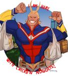 1boy all_might antenna_hair bag bara blonde_hair blue_eyes bodysuit boku_no_hero_academia chest covered_abs english_text flexing full_body grin hair_slicked_back highres male_focus mcdonald's messy_hair muscle pose shirtless shopping_bag short_hair smile stormcallart upper_body
