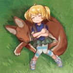 1girl ahoge animal blonde_hair buchi0122 calenda_(kemono_friends) child closed_eyes commentary crossed_arms grass highres kemono_friends lying on_back plaid plaid_shirt pleated_skirt shirt skirt sleeping striped striped_legwear twintails vest wolf younger