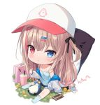 1girl :< bangs baseball_cap black_bow black_shorts blue_camisole blue_eyes blue_legwear blush bow brown_hair camisole chibi chocolate closed_mouth coin collarbone commentary doll dollar_sign english_commentary eyebrows_visible_through_hair full_body hair_between_eyes hair_bow hair_ornament hairclip hat heterochromia highres hitsukuya jacket long_hair long_sleeves looking_at_viewer money multicolored_hair no_shoes off_shoulder one_side_up open_clothes open_jacket original polka_dot polka_dot_legwear red_eyes redhead short_shorts shorts signature sitting socks solo strap_slip streaked_hair suitcase thumbs_up very_long_hair white_background white_headwear white_jacket