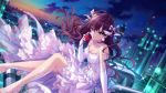1girl bow brown_hair choker clouds commentary_request dress dusk dutch_angle earrings elbow_gloves eyebrows_visible_through_hair flower gloves hair_bow ichinose_shiki idolmaster idolmaster_cinderella_girls jewelry lace lace-trimmed_dress lace-trimmed_legwear lights long_hair looking_at_viewer night night_sky nigou oil_refinery piping rose sitting sky solo star_(sky) white_dress
