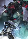 2others abs absurdres arm_support armor battle bodysuit commentary facing_away from_behind glowing goblina gun helmet highres looking_at_another monster multiple_others muscle original red_eyes science_fiction size_difference standing tagme weapon weapon_on_back