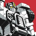 autobot ground_vehicle kamizono_(spookyhouse) limited_palette mask mecha monochrome motor_vehicle no_humans optimus_prime red_background solo solo_focus tire transformers transformers_armada truck yellow_eyes