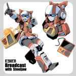 1girl :d autobot bag blaster_(transformers) blue_eyes cd_player genderswap genderswap_(mtf) hologram humanoid_robot index_finger_raised kamizono_(spookyhouse) lion mecha_musume open_mouth skirt smile speaker steeljaw_(transformers) transformers wire