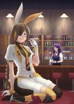2girls absurdres alcohol alternate_costume anger_vein animal_ears artist_request bar broken commission crossover cup drinking drinking_glass eyepatch formal giantess grifon_&_kryuger highres jill_stingray m16a1_(girls_frontline) multiple_girls necktie nier_(series) rabbit_ears size_difference stool suit va-11_hall-a whiskey
