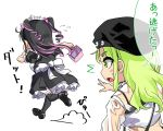 2girls ahoge alternate_costume badge basket black_footwear black_hair black_legwear blush_stickers button_badge chibi commentary_request drill_locks dust_cloud enmaided eyeball eyebrows_visible_through_hair fleeing flying_sweatdrops frilled_headband from_behind green_eyes green_hair hat highres himekawa_(shashaki) holding holding_basket long_hair maid maid_dress maid_headdress multicolored_hair multiple_girls open_mouth original osanai_(shashaki) puffy_short_sleeves puffy_sleeves purple_hair reaching_out sharp_teeth shashaki short_sleeves sidelocks sweatdrop teeth thigh-highs translation_request translucent_shirt twintails two-tone_hair