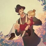 2boys bebinn blonde_hair boots brown_hair carrying child crown daida dated eye_contact facial_hair frown long_sleeves looking_at_another mifu_(b24vc1) mini_crown multiple_boys mustache ousama_ranking outdoors plant princess_carry red_shirt shirt vines