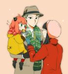1boy 2girls :i ^_^ adjusting_scarf ania_(spy_x_family) aqua_gloves bangs black_hair blonde_hair blush brown_coat brown_headwear child_carry closed_eyes coat dressing_another eating family food gloves green_eyes green_scarf hairpods happy hat holding holding_food koniwa long_sleeves looking_at_another multiple_girls pantyhose pink_headwear profile red_coat red_legwear red_scarf redhead scarf sidelocks simple_background snowing spy_x_family stream striped striped_scarf tasogare_(spy_x_family) upper_body winter_clothes yellow_coat yoru_briar
