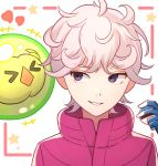 1boy ahoge bangs bede_(pokemon) blonde_hair coat commentary curly_hair eyebrows_visible_through_hair eyelashes gen_5_pokemon gloves hand_up heart highres holding holding_poke_ball looking_to_the_side parted_lips poke_ball pokemon pokemon_(creature) pokemon_(game) pokemon_swsh popped_collar purple_coat smile solosis tanbonota46 teeth upper_body violet_eyes