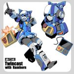 1girl :d autobot bag blue_eyes cd_player genderswap genderswap_(mtf) hologram humanoid_robot index_finger_raised kamizono_(spookyhouse) lion mecha_musume open_mouth ramhorn skirt smile speaker transformers twincast wire