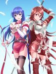 2girls absurdres arm_up blue_eyes blue_hair breastplate caeda_(fire_emblem) closed_mouth commentary cordelia_(fire_emblem) dress feathers fingerless_gloves fire_emblem fire_emblem:_mystery_of_the_emblem fire_emblem_awakening gloves hair_ornament highres holding kakiko210 long_hair multiple_girls open_mouth polearm red_eyes redhead scabbard sheath sheathed short_dress smile sword weapon white_gloves wing_hair_ornament