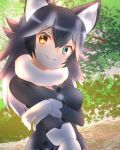 1girl animal_ears black_hair blue_eyes blush breast_pocket breasts commentary commentary_request eyebrows_visible_through_hair forest fur_collar gloves grey_wolf_(kemono_friends) heterochromia highres kemono_friends large_breasts looking_at_viewer multicolored_hair nature outdoors plaid_neckwear pocket sd_(s-di) smile solo two-tone_hair white_gloves white_hair wolf_ears wolf_girl yellow_eyes