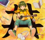 1girl black_hair can cellphone commentary guitar headphones holding instrument kanji looking_at_viewer notebook original pen phone short_hair sitting smartphone solo yajirushi_(chanoma) yellow_eyes
