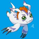 :3 blue_background digimon digimon_adventure fangs fangs_out full_body gomamon green_eyes looking_at_viewer no_humans peron_(niki2ki884) signature simple_background