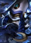 1girl alternate_costume animal_ears black_legwear blue_hair blue_skin cosmic_enchantress_lulu floating hair_ornament hat highres holding holding_staff league_of_legends long_hair lulu_(league_of_legends) mask open_mouth pointy_ears smile solo sparrowl staff witch_hat yordle