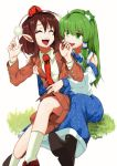 2girls :d absurdres blazer brown_footwear brown_hair commentary_request frog_hair_ornament green_eyes green_hair hair_ornament hat highres jacket kochiya_sanae laughing long_hair looking_at_another multiple_girls necktie open_mouth pointy_ears red_headwear red_neckwear shameimaru_aya shirokaba114 shirt shoes short_hair simple_background sitting smile snake_hair_ornament socks teeth tickling tokin_hat touhou upper_teeth white_background white_shirt