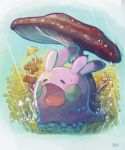 closed_eyes commentary_request gen_6_pokemon goomy grass highres mushroom no_humans open_mouth pokemon pokemon_(creature) rain taking_cover tongue water_drop watermark yukichi_(tsuknak1)