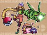 1girl 1other arm_cannon arms_(game) blonde_hair chopsticks chopsticks_in_mouth closed_eyes copy_ability cosplay eating english_commentary erlmaiden firing food gen_1_pokemon gen_3_pokemon green_eyes hat heart kirby kirby_(series) knit_hat legendary_pokemon long_hair min_min_(arms) min_min_(arms)_(cosplay) nervous noodles pikachu poke_ball pokemon ramen rayquaza super_smash_bros. sweatdrop tangela very_long_hair weapon