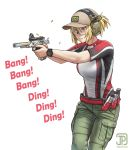 1girl baseball_cap blonde_hair ear_protection english_commentary english_text finger_on_trigger firing goggles gun handgun hat holding holding_gun holding_weapon jpc original pistol ponytail shooting_glasses solo violet_eyes watch watch weapon white_background