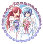 2girls blue_eyes blue_hair bouquet bridal_veil byakuya_yuu dress flower long_hair mahou_shoujo_madoka_magica miki_sayaka multiple_girls red_eyes redhead sakura_kyouko veil wedding wedding_dress wife_and_wife yuri