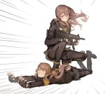 2girls 404_logo_(girls_frontline) armband artist_request brown_hair closed_eyes fingerless_gloves girls_frontline gloves gun h&k_ump h&k_ump45 hair_ornament hairclip hood hooded_jacket jacket lowres multiple_girls scar scar_across_eye siblings sisters submachine_gun surfing twins twintails ump45_(girls_frontline) ump9_(girls_frontline) weapon