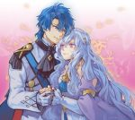1boy 1girl blue_eyes blue_hair couple ethlyn_(fire_emblem) fire_emblem fire_emblem:_genealogy_of_the_holy_war hetero highres holding_hands jin_(phoenixpear) looking_at_another looking_down looking_up sigurd_(fate/grand_order) symbol_commentary violet_eyes white_hair
