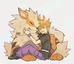 1boy arcanine black_footwear black_shirt blue_oak blush collared_shirt commentary_request gen_1_pokemon one_eye_closed open_mouth orange_eyes orange_hair pants petting pokemon pokemon_(creature) pokemon_(game) pokemon_frlg purple_pants purple_wristband rata_(m40929) shirt shoes short_sleeves sitting spiky_hair tongue upper_teeth white_background