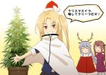 3girls alternate_costume asagumo_(kantai_collection) azur_lane bangs black_skirt blonde_hair brown_hair cape christmas cleveland_(azur_lane) closed_eyes crossover eyebrows_visible_through_hair fake_antlers fur_trim gradient gradient_background grey_hair grin hair_ribbon hat kantai_collection long_hair long_sleeves marijuana misumi_(niku-kyu) multiple_girls open_mouth pleated_skirt red_eyes ribbon santa_hat simple_background skirt smile sweater translation_request turtleneck turtleneck_sweater twintails yamagumo_(kantai_collection) yellow_background
