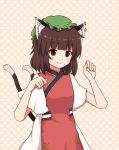 1girl animal_ear_fluff animal_ears arms_up bangs bansyakumikan brown_eyes brown_hair cat_ears cat_tail chen commentary cowboy_shot dress eyebrows_visible_through_hair green_headwear hansoku_tantei_satori hat highres jewelry light_blush looking_at_viewer mob_cap paw_pose pink_background polka_dot polka_dot_background short_hair single_earring smile solo standing tabard tail touhou white_dress