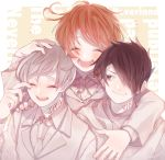 1girl 2boys :d arm_around_neck black_hair brown_hair closed_eyes copyright_name emma_(yakusoku_no_neverland) grey_hair hair_over_one_eye hand_on_shoulder hand_up multiple_boys naruna_(star) neck_tattoo norman_(yakusoku_no_neverland) open_mouth ray_(yakusoku_no_neverland) simple_background smile tattoo upper_body white_neckwear yakusoku_no_neverland