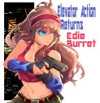 1girl black_gloves blue_eyes brown_hair building character_name copyright_name cowboy_shot edie_burret elevator_action eyepiece fingerless_gloves gloves gun h-y-d hairband headpiece holding holding_gun holding_weapon long_hair looking_away navel red_hairband red_tank_top serious shiny shiny_hair shiny_skin solo tank_top weapon
