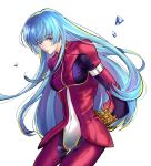 1girl bangs belt blue_hair bodysuit breasts eyebrows_visible_through_hair gloves highres ice kula_diamond long_hair looking_at_viewer simple_background small_breasts the_king_of_fighters violet_eyes white_background