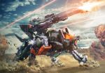 command_wolf dust explosion firing highres igarashi_kazuya laser mecha no_humans open_mouth solo standing tion turret zoids