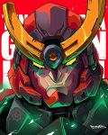 copyright_name english_commentary gurren-lagann highres looking_at_viewer mecha muhammad_firdaus no_humans portrait red_background scowl signature solo tengen_toppa_gurren_lagann yellow_eyes