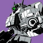 aiming_at_viewer antennae decepticon green_eyes horns kamizono_(spookyhouse) looking_at_viewer mecha monochrome one-eyed purple_background shockwave_(transformers) solo transformers transformers_energon
