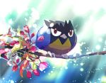 bird closed_mouth commentary_request gen_8_pokemon leaf light_beam looking_at_viewer no_humans pokemon pokemon_(creature) red_eyes rookidee tree_branch yukichi_(tsuknak1)