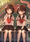 2girls ai_ai_gasa bangs black_hair black_skirt blush bob_cut closed_mouth collarbone commentary_request eyebrows_visible_through_hair hand_up heart highres knees looking_at_another looking_away looking_to_the_side multiple_girls original pleated_skirt sailor_collar shirt short_hair short_sleeves sitting skirt tanbonota46 white_shirt yuri