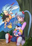 1boy 2girls black_hair blue_hair blue_shirt dragon_ball dragon_ball_gt floppy_ears grass highres in_tree kaze_no_klonoa klonoa long_hair masaki_sasami_jurai multiple_girls ocean red_footwear ryouko_(tenchi_muyou!) shirt sitting sitting_in_tree sky son_gokuu tail tenchi_muyou! tree white_hair zipper