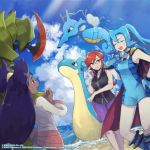 3girls blue_footwear blue_gloves blue_hair boots bracelet clair_(pokemon) closed_eyes clouds commentary dark_skin dated day english_commentary eyelashes gen_1_pokemon gen_2_pokemon gen_5_pokemon glasses gloves hand_up haxorus highres iris_(pokemon) jewelry kingdra knees lapras long_hair long_sleeves lorelei_(pokemon) multiple_girls official_art open_mouth orange_eyes outdoors pokemon pokemon_(creature) pokemon_(game) pokemon_masters_ex purple_hair purple_skirt red_eyes redhead shore skirt sky tied_hair upper_teeth water watermark