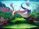 antennae black_eyes bubble commentary_request fins full_body gen_3_pokemon milotic no_humans pokemon pokemon_(creature) red_sclera underwater yukichi_(tsuknak1)