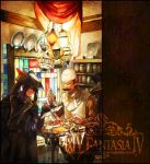 2boys brown_hair copyright_name facial_hair fantasy frown gloves hand_on_hip hat indoors kamal_(pixiv_fantasia) lantern long_hair male_focus multiple_boys mustache nishihara_isao pixiv_fantasia pixiv_fantasia_4 ponytail purple_hair smile