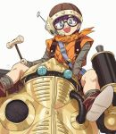 1girl artist_name bangs bike_shorts black_shorts blunt_bangs boots brown_footwear brown_headwear carrying chrono_trigger commentary grey_eyes grey_leotard headset helmet holding holding_mallet hosodayo leotard long_sleeves looking_at_viewer lucca_ashtear mallet open_mouth orange_tunic purple_hair robo_(chrono_trigger) robot short_hair shorts shoulder_carry signature simple_background smile socks standing white_background