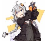 2girls ahoge arrow_(symbol) belt black_jacket bracelet braid chibi chibi_inset commentary controller dress fingerless_gloves flying_sweatdrops game_controller gloves grey_dress grey_hair hair_ornament hair_tubes hands_up headset holding holding_controller holding_game_controller jacket jewelry kizuna_akari light_blue_eyes long_hair multiple_girls normaland open_mouth orange_gloves playing_games twin_braids upper_body voiceroid white_background yuzuki_yukari