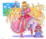 1boy 1girl \m/ adult blonde_hair blue_eyes brown_hair commentary crown dress floating_hair gloves hat highres long_hair looking_at_viewer mario mario_(series) nintendo nintendo_ead oomasa_teikoku open_mouth overalls pink_dress princess_peach squatting thumbs_up very_long_hair white_gloves