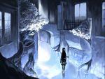 1girl barefoot black_hair blue_theme goblina highres house long_hair original roots scenery skirt solo tree water white_tree window