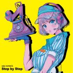 1girl album_cover blonde_hair blue_eyes cover fingerless_gloves gloves headphones headset highres looking_at_viewer najuco_(naju0517) official_art sandal_telephone shirt short_hair solo striped striped_shirt thick_lips visor_cap yellow_background