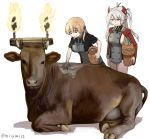 2girls animal azur_lane bangs blonde_hair breasts cow crossover eyebrows_visible_through_hair fire headgear highres holding iron_cross kantai_collection large_breasts long_hair long_sleeves misumi_(niku-kyu) multiple_girls pottery prinz_eugen_(azur_lane) prinz_eugen_(kantai_collection) shadow short_sleeves silver_hair simple_background smile twintails white_background